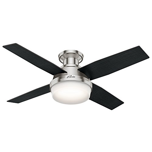 Hunter Fan Company 59243 Hunter Dempsey Indoor Low Profile Ceiling Fan with LED Light and Remote Control, 44', Brushed Nickel