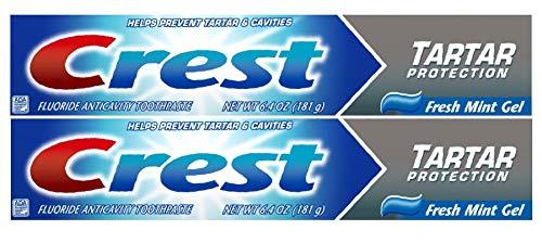 Crest Tartar Protection Toothpaste, Fresh Mint Gel 6.4 oz (181g) - Pack of 2
