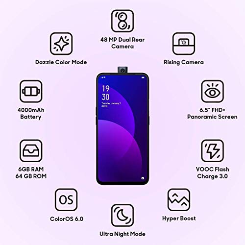 (Renewed) Oppo F11 Pro (Thunder Black, 6GB RAM, 64GB Storage) 6