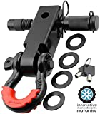 """Motormic UNIQUE Shackle Hitch Receiver 2"""" + 5/8' Trailer Lock Pin and 3/4' D Shackle (35,000 lbs Max Capacity) – Heavy Duty Off Road Recovery Black D Ring with 4 washers + Red Isolator for Jeep Towing"""