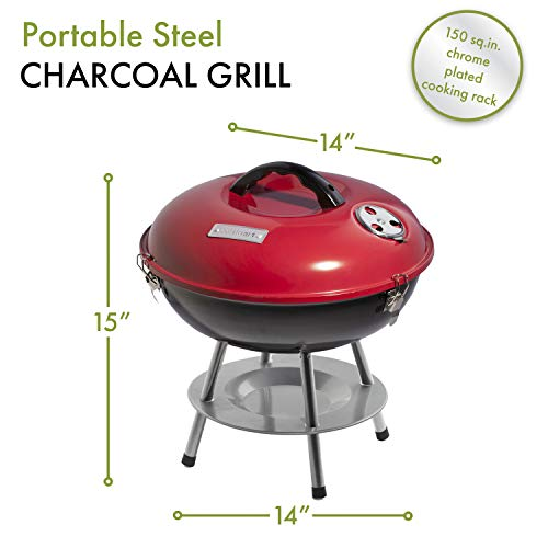 Product Image 7: Cuisinart CCG190RB Portable Charcoal Grill, 14-Inch, Red, 14.5
