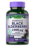 Black Elderberry Capsules 2000mg   100 Count   Super Concentrated Sambucus Extract   Non-GMO, Gluten Free   by Nature's Truth