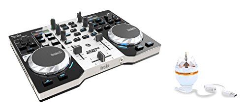 Hercules DJ Control Instinct S Series Party Pack (versione nuova, controller DJ a 2 piani, Soundkarte integrato, LED Party Light USB, DJUCED 18 , PC / Mac)