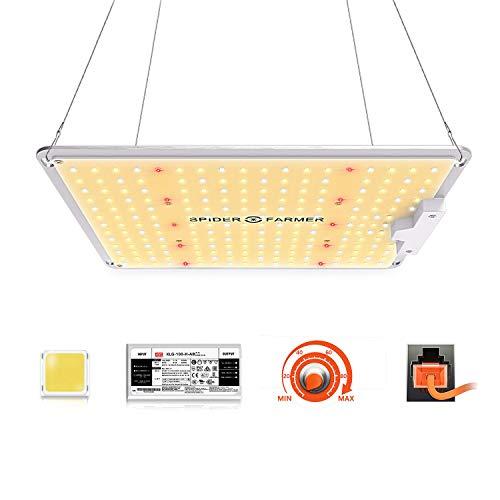Spider Farmer LED Grow Lampe SF 1000 LED Pflanzenlampe Vollspektrum und Dimmbarer Funktion mit Samsung LM301 LEDs & Mean Well Driver LED Grow Light Wachstumslampe für Zimmerpflanzen, Gemüse, Blume