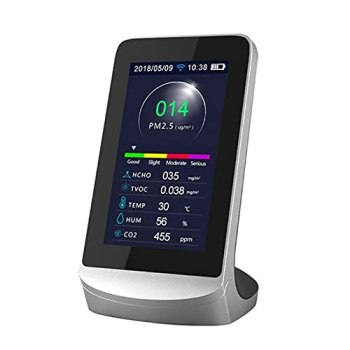 LIXIAONMKOP DM72B WIFI Multi-fonction Air Quality Monitor WiFi Connectez-vous au Détecteur de formaldéhyde de téléphone CO2 PM2.5 TVIC