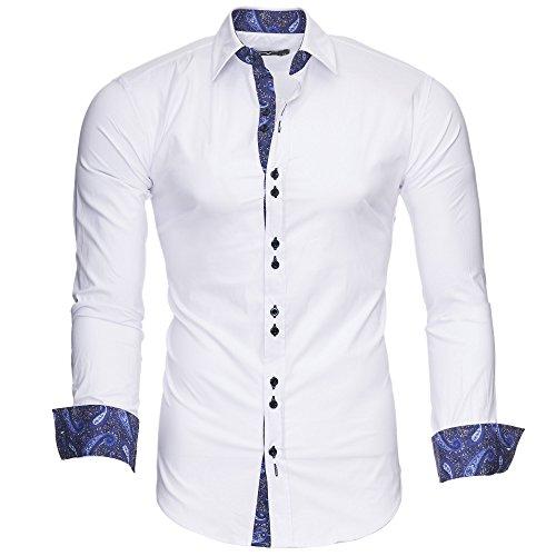 Kayhan Hombre Camisa Royal Paisley White/Navy (XL)