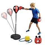 Abree Set de Boxeo para Niños Saco de Boxeo Independiente con Guantes de Boxeo Pelota de Boxeo,Altura Ajustable(80-110cm) Juego Deportivo Interior para Niños 4-10 años - Regalo para Niños