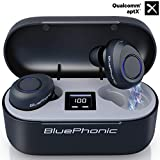 Bluephonic True Wireless Earbuds, CVC 8.0 Noise Reduction, Bluetooth 5.0 aptX HiFi Sound in Ear Totally Wireless Earphones, 32Hr Play Auto Pairing IPX7 Sweatproof Sport Headset, Built in Mic for Calls