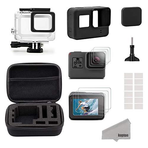Kupton Accessori Kit per GoPro Hero7 Black /2018/6/5 Custodia Piccola da Viaggio+Custodia per Case+Protezione Schermo+Lente Cover+Custodia Protettiva in Silicone per GoPro Hero7 Black/2018/6/5 Black