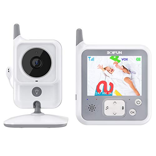 Baby Monitor, Videocamera BOIFUN con schermo da 3.2 '' 1150mAh Supporto batteria ricaricabile VOX Visione notturna Visione di temperatura 8 ninne nanne per bambino/anziano/animale domestico