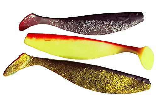 SANDAFishing Xtra-Soft - Pesce in gomma da 6', 3 x 16 cm, per luccio, merluzzo, luccioperca, pesce predatore in gomma, set di accessori da pesca, accessori per pesca alta orientale (5)