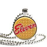 Stranger Things Eleven Eggo Waffle 1 inch Silver Plated Pendant Necklace