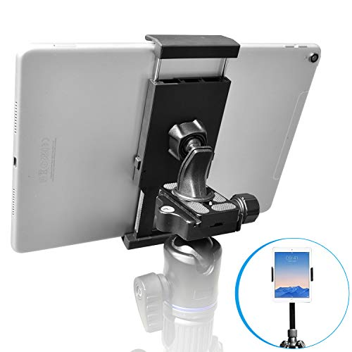 Sturdy Tablet and Phone Tripod Mount for iPad Samsung Tablet Cell Phone More, Rotatable Tiltable Tripod Adapter Stand Clamp Holder for Video Recording Photo Booth Live Music Camera by APPS2Car