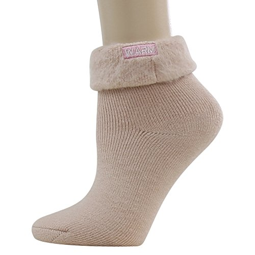 Winter Thermal Insulated Socks, SUTTOS Women Girls Elite Autumn Thick Cotton Soft Cute Turn Cuff Winter Warm Socks for Extreme Cold Weather Crew Socks Valentine's Day Gifts for Women,Light Pink,1 Pair