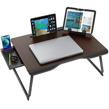 Laptop Desk for Bed, SAIJI XX-Large Foldable Bed Tray Table for Eating Breakfast, Writing, Working, Gaming, Drawing with Storage Drawer, Handrest Bookstand, Tablet Stand, Phone Stand(Black Cherry)