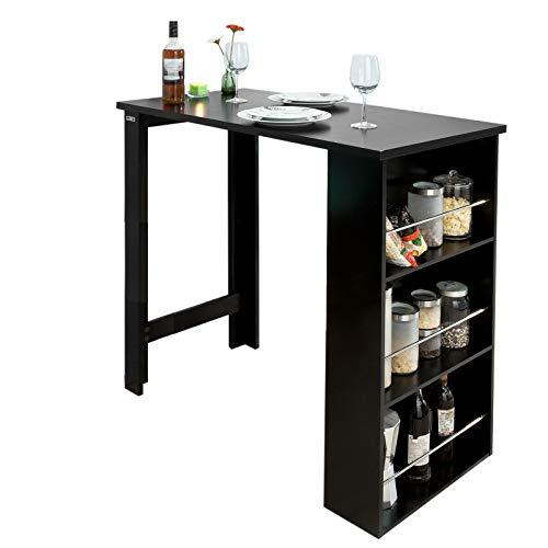 SoBuy FWT17 - SCH Bartisch schwarz Küchentisch mit 3 Regalfächern Stehtisch Tresen Theke, BHT ca.: 112x106x57cm