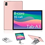 Tablet 10.1 Pollici Android 10, 6GB RAM + 128GB /512 GB ROM, Octa Core 1.5 GHz Certificato Google GMS, 4G LTE + 5G WIFI, 7000mAh 800 * 1280 IPS,WiFi/GPS/Type/includere Supporto per Tablet (Rosa)