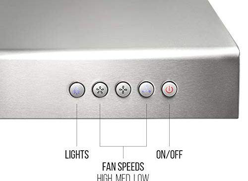 BV Range Hood - 30 Inch 860 CFM Under Cabinet Stainless Steel Kitchen Range Hoods, Dishwasher Safe Baffle Filters w/LED Lights, Ducted Kitchen Exhaust Fan Hood