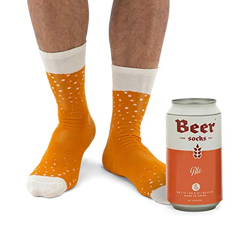 Luckies of London Soup Socks - Calzini da uomo colorati e divertenti con fantasia 'birra' in morbido misto cotone - Calzini particolari in lattina di birra - Pale Ale, 41-45 EU (7-11 UK)