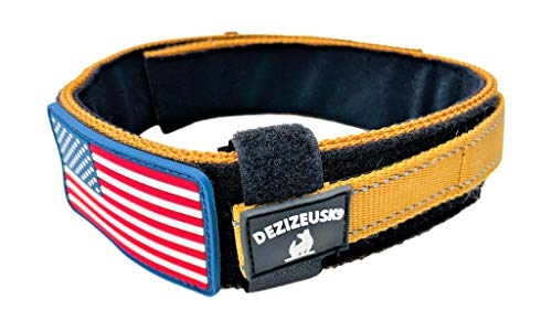 "Diezel Pet Products Dog Collar with Control Handle Quick Release Metal Buckle Heavy Duty Military Style 2"" Width Nylon with USA Flag for Handling and Training Large Canine K9 (729C-TANTAC)"