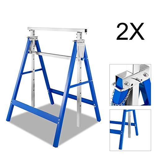 BMOT 2x Teleskop-Arbeitsbock, tragbar Klappbock Tragkraft 250 kg, Unterstellbock höhenverstellbar 80-130 cm, aus Stahl-Vierkantrohr, kratzfeste Kunststoffbeschichtung