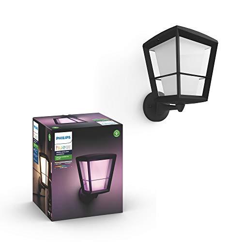 Philips Hue Econic Aplique brazo ascendente LED inteligente negro, luz blanca y de colores, compatible con Amazon Alexa, Apple HomeKit y Google Assistant
