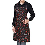 Eastery Hombre Mujer Rayas A Cuadros Catering Chef Camarero Bar Delantal Estilo Simple De Cintura Larga con Bolsillo M Cheques Negros (Color : Red Pepper, Size : Size)