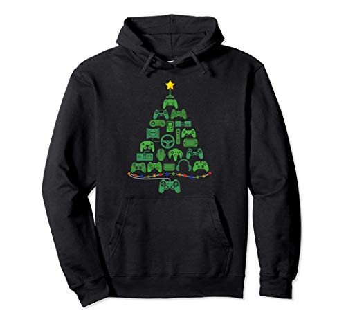 Video Game Controller Christmas Tree Gifts For Gamer Pullover Hoodie