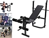 Tengma Standard Weight Bench with Leg Developer Multifunctional Workout Station for Home Gym Weightlifting and Strength Training Weight Lift Bench Rack Set Fitness Barbell Dumbbell Workout