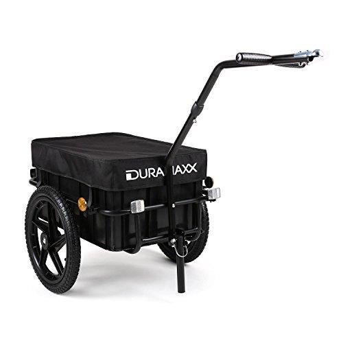 Duramaxx Big-Mike - Fahrradanhänger, Lastenanhänger, Handwagen, mit Hochdeichsel, Transportbox mit 70 Liter Volumen, Max. 40kg, Kugel-Kupplung für Fahrräder mit 26\'\' - 28\'\', schwarz