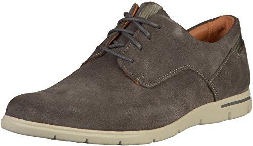 Clarks Vennor Walk, Zapatos de Cordones Derby Hombre, Gris (Grey Suede), 42 EU