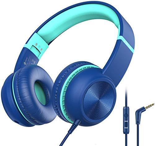 iClever Casque Audio Enfant, Régulateur de Volume avec Micro, Pliable, Câble Auxiliaire en Nylon de 3.5 mm, Ecouteurs pour Enfants à l'Oreille pour Avion, École