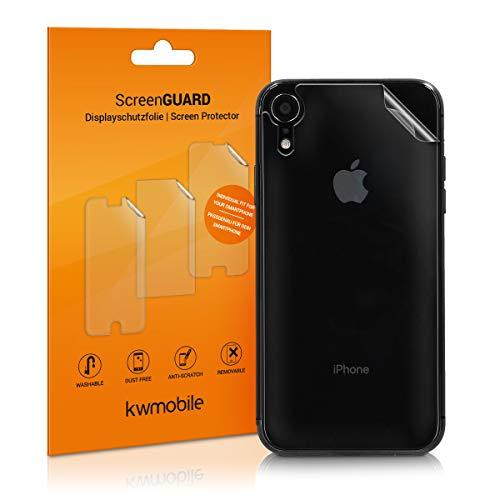 kwmobile 3x Pellicola Protettiva Posteriore Compatibile con Apple iPhone XR - Protezione Trasparente Retro Smartphone - Film Protettivo Antigraffio
