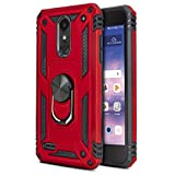 CasemartUSA Phone Case for [LG Rebel 4 (L212VL, L211BL)], [Loop Series][Red] Full Rotating Metal Ring Cover with Kickstand for LG Rebel 4 (Tracfone, Simple Mobile, Straight Talk, Total Wireless)