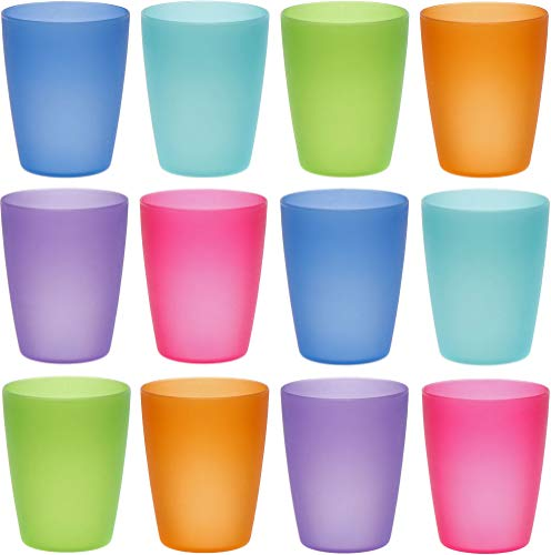 idea-station Neo Vasos plastico 12 Piezas, 250 ml, Colorido, Reutilizable, inastillable, Duro, vajilla, Tazas, Copas, Vaso, niños, Infantiles, de Agua, cóctel, Fiesta