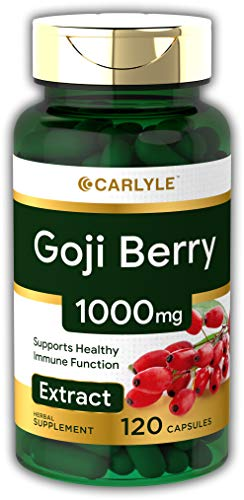 Carlyle Goji Berry 1000mg (120 Capsules) | Concentrated Extract from Wolfberry Plant | Non-GMO, Gluten Free