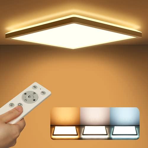 VECINO Led Deckenleuchte Panel Dimmbar mit Fernbedienung, Deckenlampe Flach 24W 2400LM IP44 2.5cm Ultra Dünn, 30x30cm Weiß für Schlafzimmer/ Badezimmer/ Kinderzimmer/ Flur