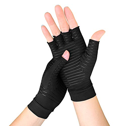 Meccus Copper Arthritis Gloves for Women/Men, Compression Gloves for Arthritis & Carpal Tunnel Pain & Muscle Tension Relief, Fingerless Gloves for Computer Typing and Daily Work (Medium)