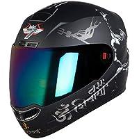 Full Face Helmet in Matt Finish with Chrome Visor Size: Large 600 MM Colour: Black/White