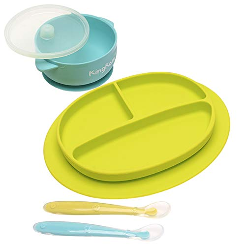 Baby Plate Bowl - Silicone Mini Mat - Super Suction Placemat Bowl with 2 Spoons for Self Feeding, 100% Safe Silicone, Dishwasher and Microwave Safe KingKam