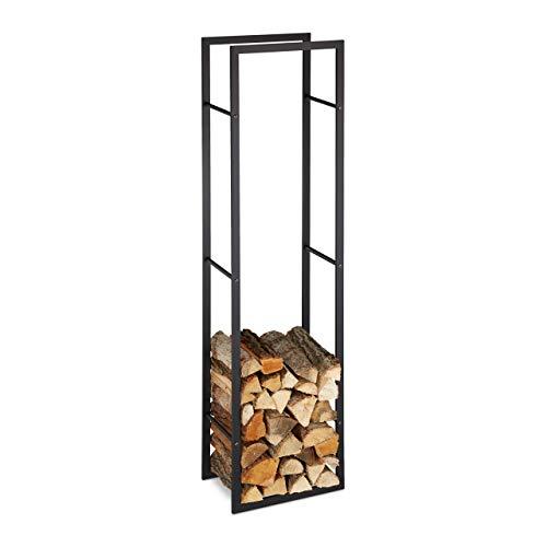 Relaxdays Kaminholzregal für innen, hohes Feuerholzregal für Kamin & Ofen, Stahl, HxBxT: 170 x 44,5 x 30 cm, schwarz