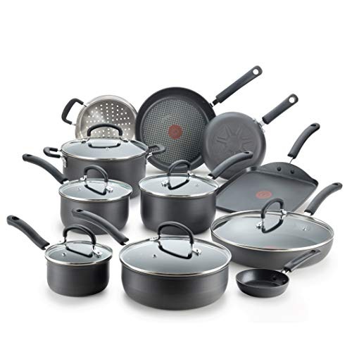 Product Image 1: T-fal Ultimate Hard Anodized Nonstick 17 Piece Cookware Set, Black