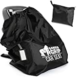 Gorilla Grip Car Seat Bag with Pouch and Luggage Tag, Adjustable Padded Backpack Straps, Many Colors, Easy Carry Universal Size Travel Bags, Airport Flying with Baby, Airplane Gate Check, Black Straps