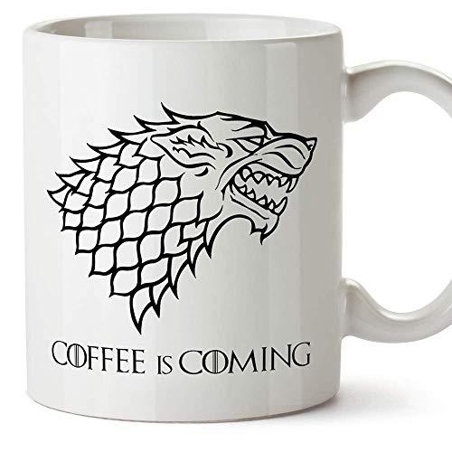 Taza Parodia de Juego de Tronos - Game of Thrones Mug - El café se Acerca/Coffee is Coming - Escudo de la casa Stark - Tazas de Series - 350 ML …
