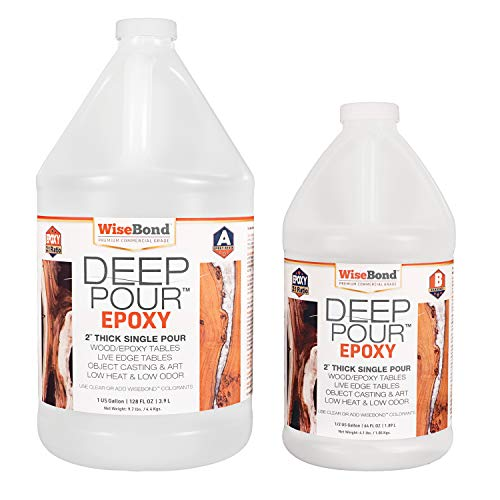 "WiseBond DEEP Pour Epoxy for 2"" Thick Single Pours to Make Epoxy River Tables, Live Edge Slabs, Lathe Turning, Object Casting, 2 Part 1-1/2 Gallon 2:1 Ratio Kit, Pour Crystal Clear or Easily Tint"
