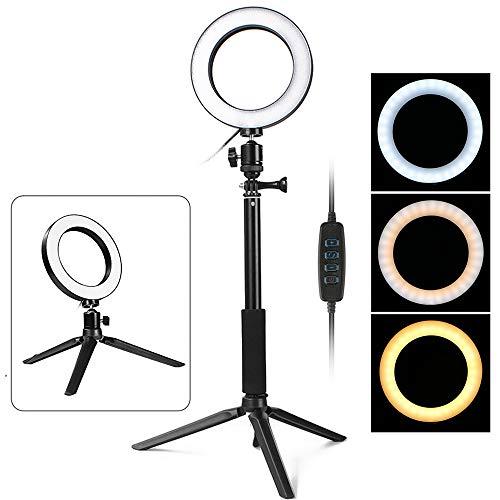 Thlevel LED Ring Light con treppiedi Lampada anulare dimmerabile da 6 Pollici per Selfie, Trucco,...