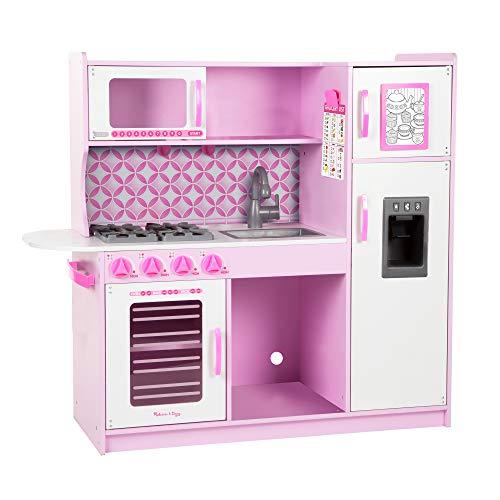 Melissa & Doug- Set da Gioco di Cucina per Cuochi di Finzione, Colore Rosa/Bianco, 14002