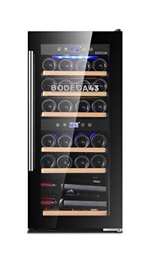 BODEGA43-24 Cantinetta vino Doppia Zona, 5-20 C, 80 litri, 24 bottiglie, 6 bottiglie a ripiano, sportello di design interamente in vetro con touch panel, a bassissima vibrazione, 43dB, nera