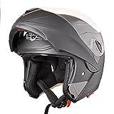 AHR Run-M Flip up Modular Full Face Motorcycle Helmet DOT Approved Dual Visor Motocross Matt Black M