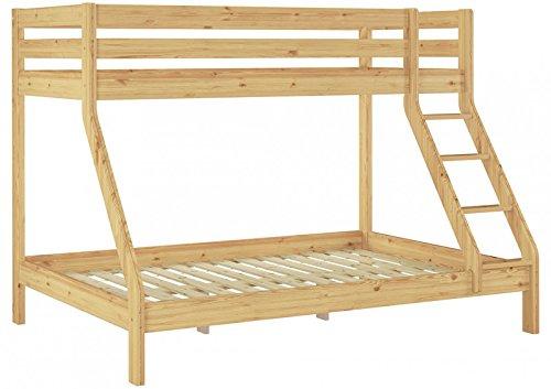 Erst-Holz® Doppel-Etagenbett 140x200 und 90x200 Erwachsenen-Stockbett Kiefer Massivholz Natur 60.19-09-14